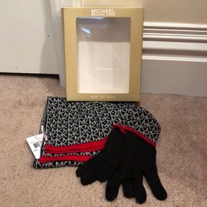 Brand new Michael Kors scarf hat and glove set